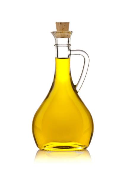 Olive oil bottle isolated on white background stock photo