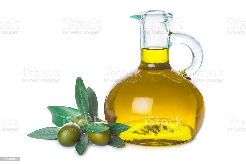 Olive oil bottle with leaves isolated on white background - foto de acervo