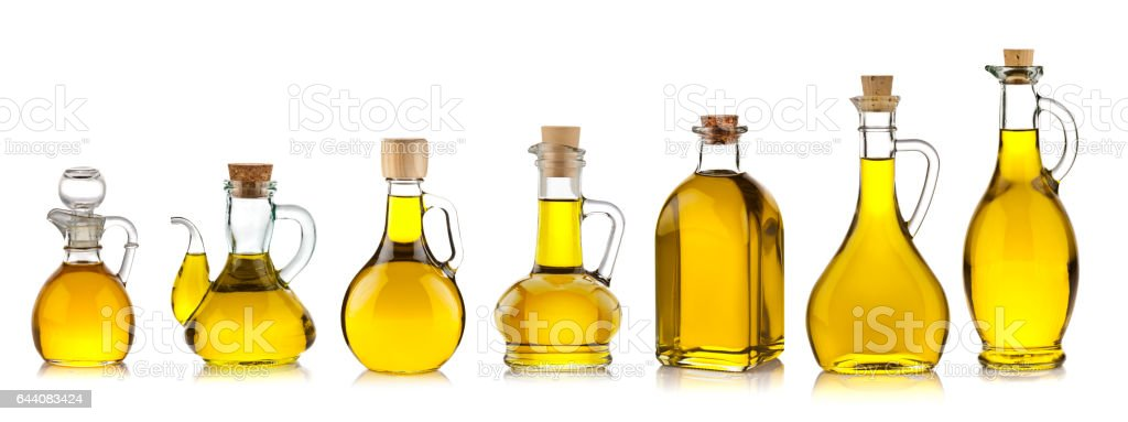 Olive oil bottles collection stock photo