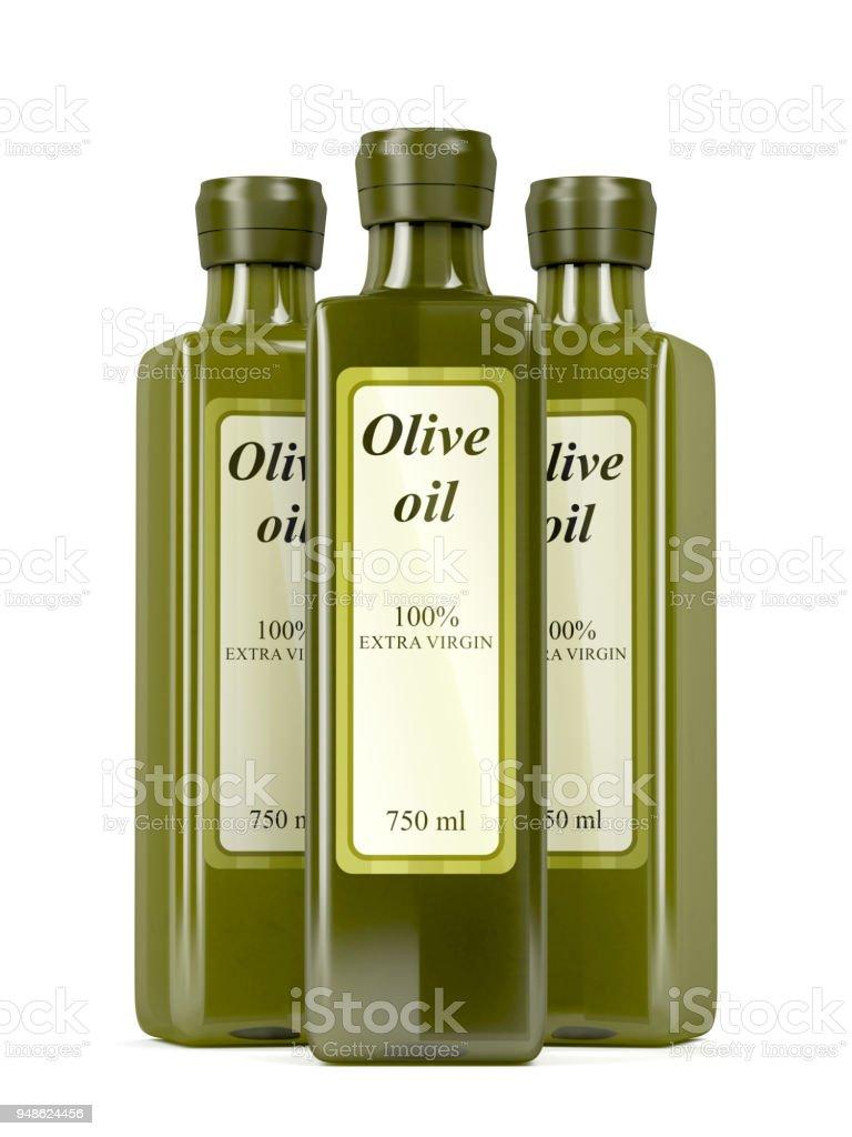 Botellas de aceite de oliva en blanco - foto de stock