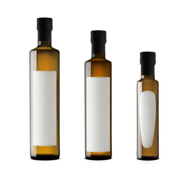 Olive oil elegant bottles with blank labels stock photo