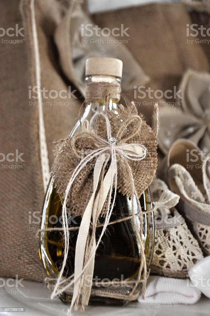 Olive oil for Greek baptism stock photo