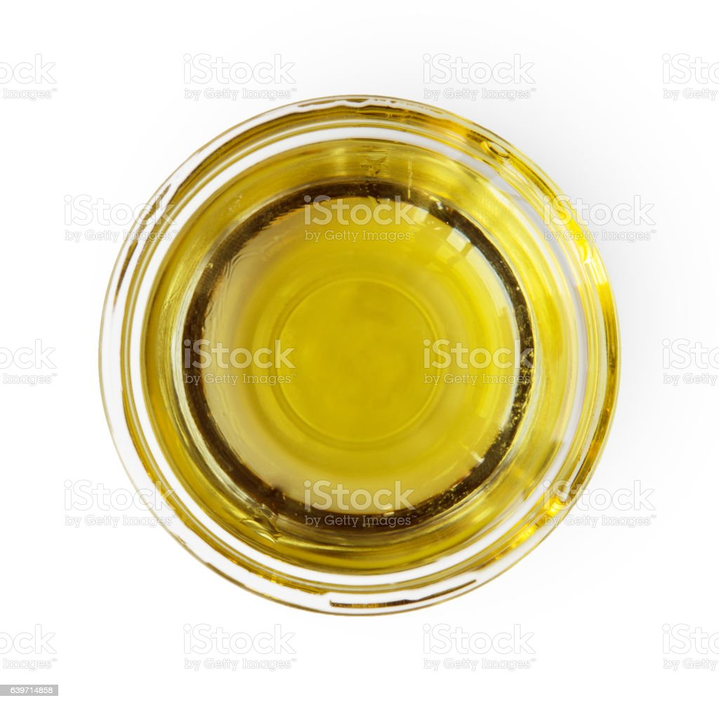 Olive oil gravy boat, top view isolated on white - foto de stock