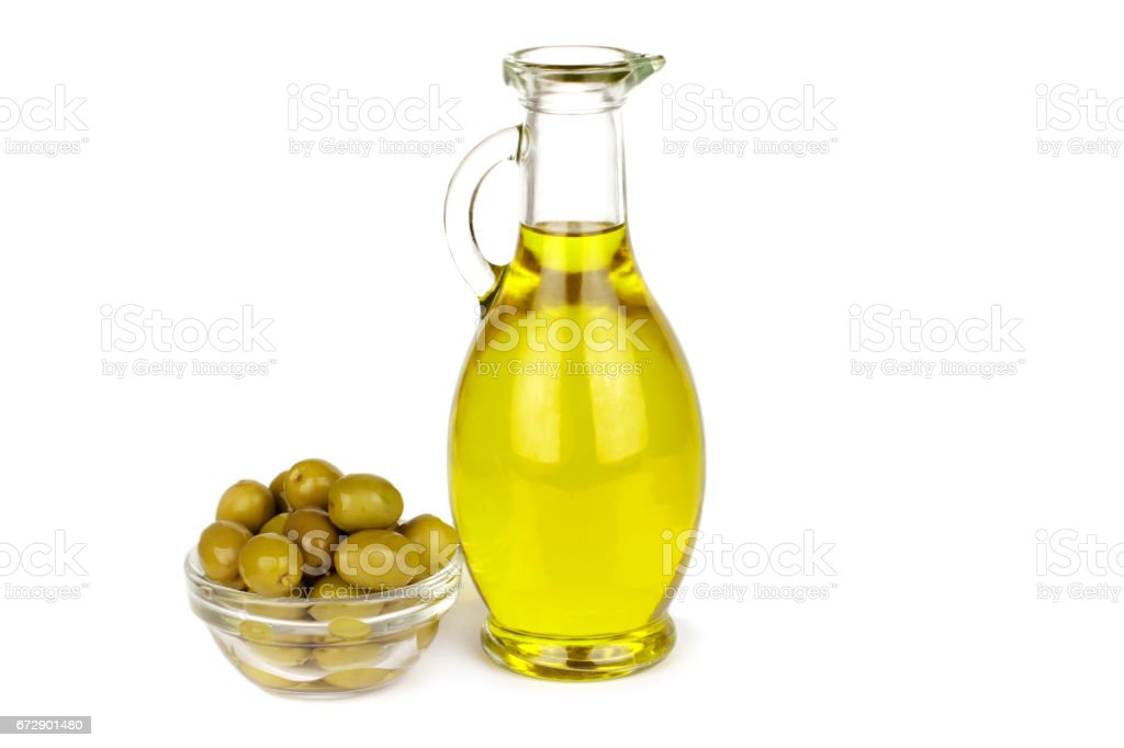 Olive Oil In Bottle And Olives On White Background Stock