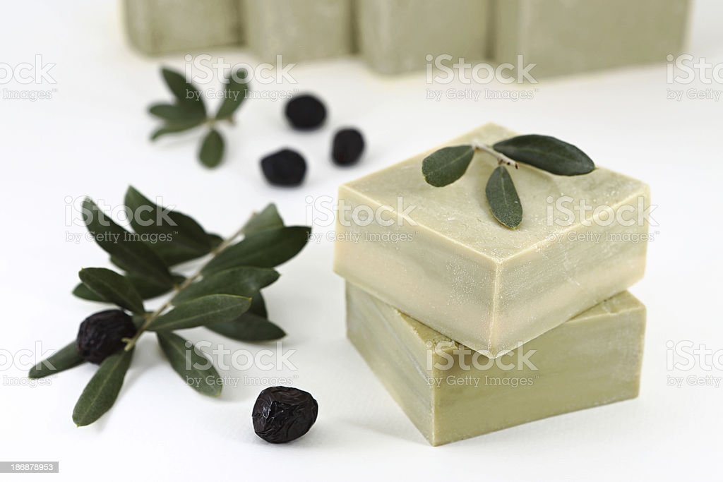 Olive Oil Soap Olive oil soap bars isolated on white. Bar Of Soap Stock Photo