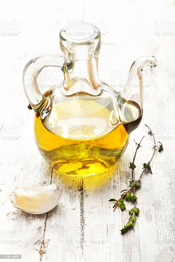 Olive Oil thyme garlic stock photo