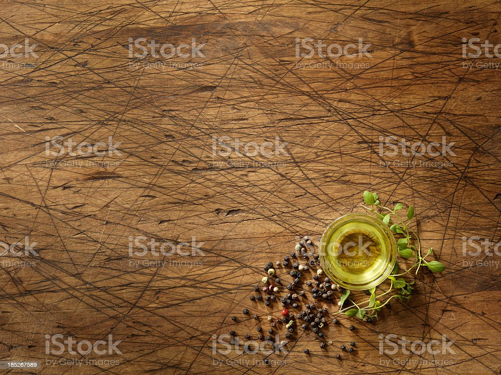 Olive Oil with Fresh Herbs stock photo
