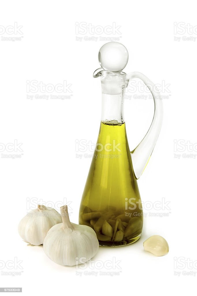 Olive oil  with garlic royalty-free stock photo