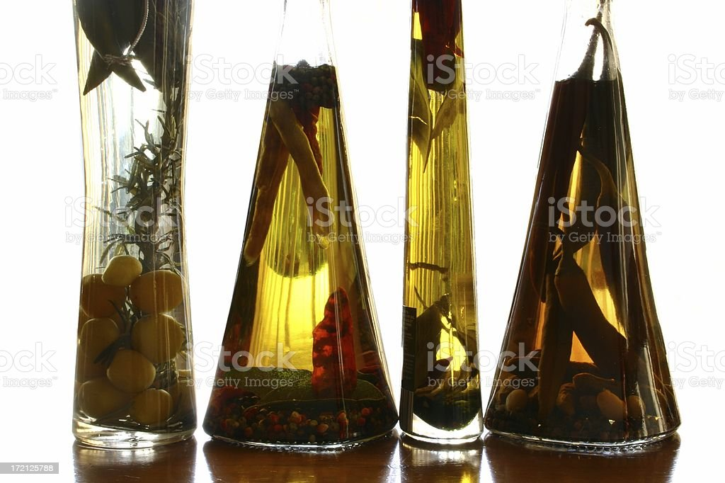 Olive oil with herbs and spices royalty-free stock photo