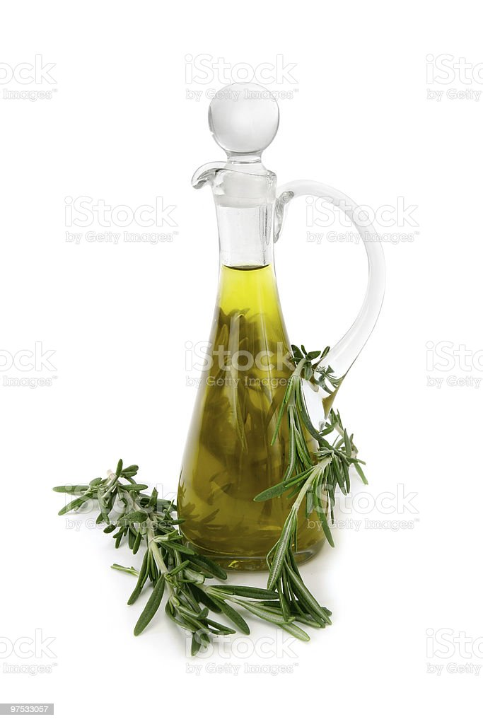 Olive oil with rosemary royalty-free stock photo