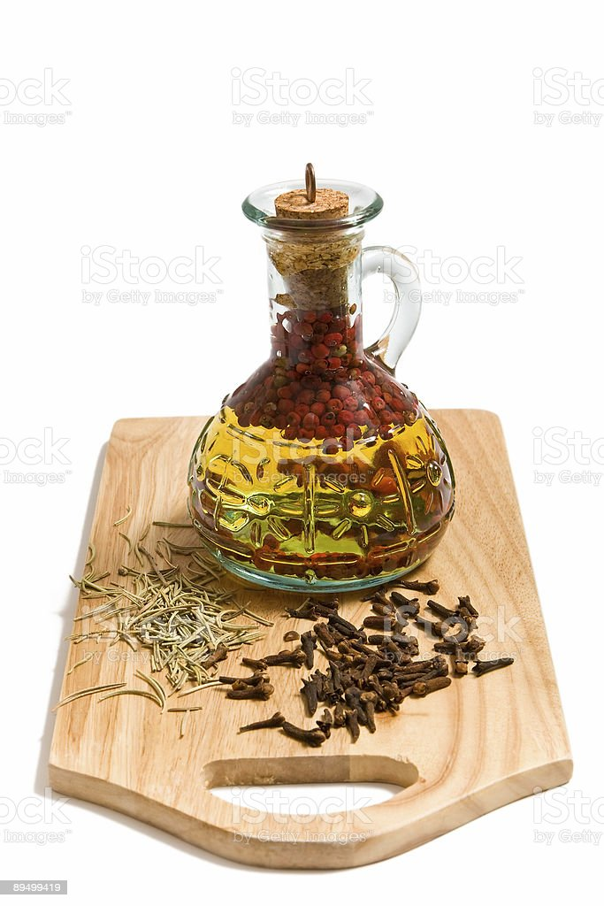 Olive oil with spicery royalty-free stock photo