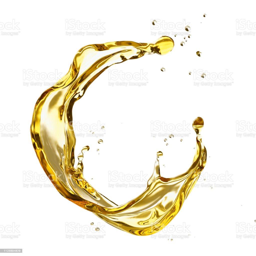 Olive ou moteur splash huile, liquide de sérum cosmétique isolé sur fond blanc. photo libre de droits