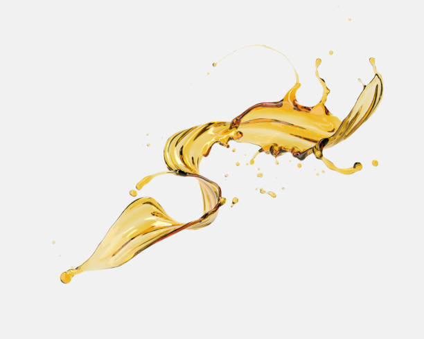 Olive or engine oil splash isolated on white background. stock photo