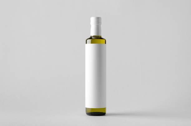 oliv / sonnenblumen / sesam öl flasche mock-up-leere beschriftung - erdnusssalatdressings stock-fotos und bilder