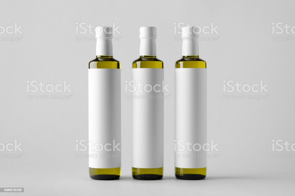 Olive / Sunflower / Sesame Oil Bottle Mock-Up - Three Bottles. Blank Label stock photo