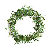 istock Olive tree branch wreath 182863937