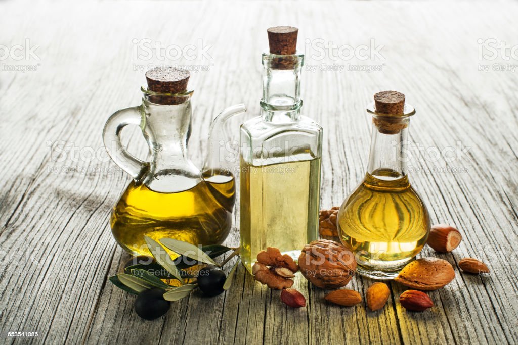 Olive, walnut, almond oil stock photo