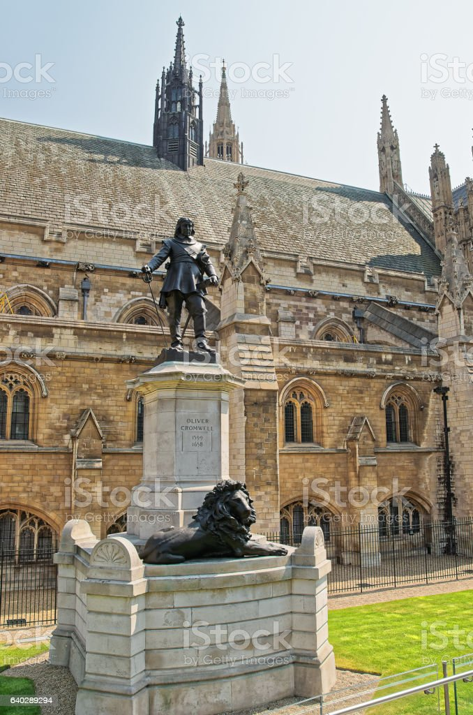 Oliver Cromwell monument in outside Palace of Westminster in London stock photo