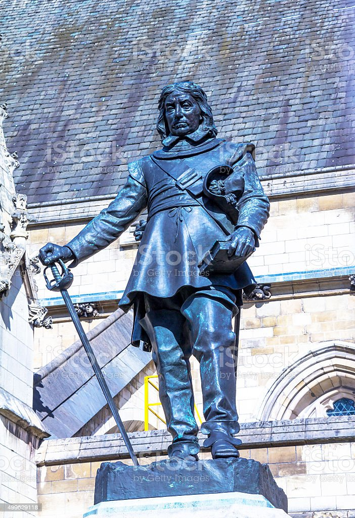 Oliver Cromwell -  statue by Hamo Thornycroft  London, UK stock photo