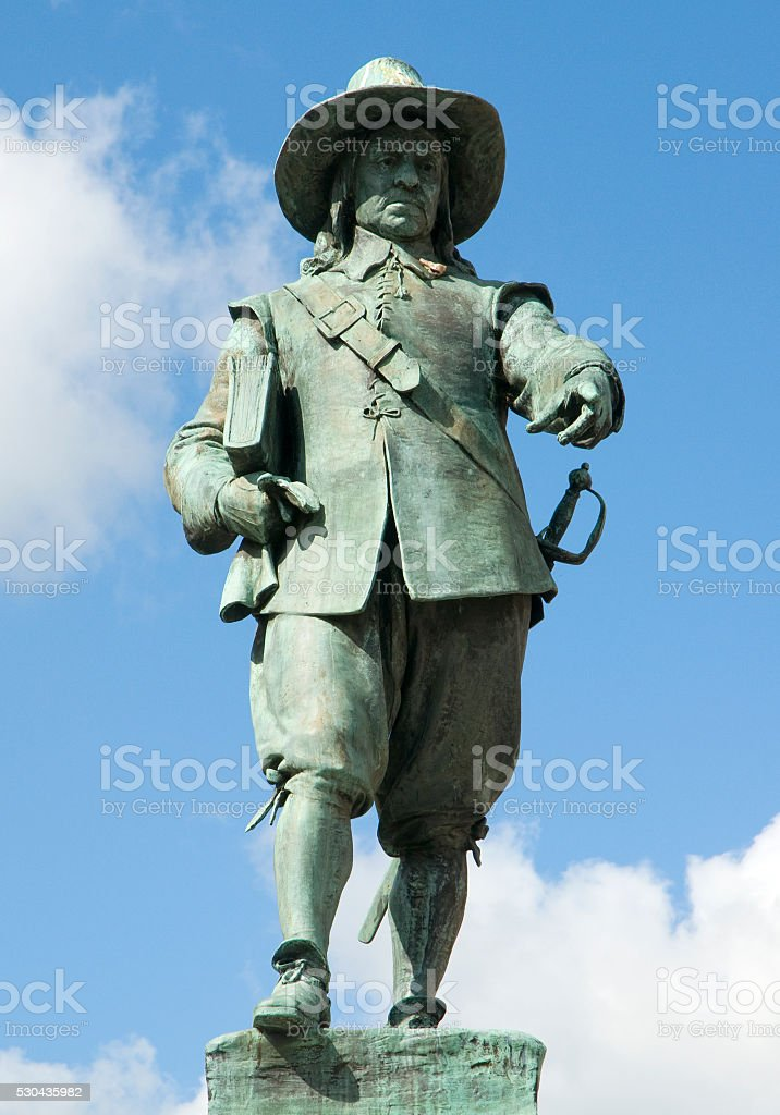 Oliver Cromwell Statue stock photo