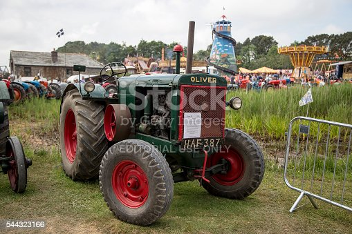 Wadebridge, Cornwall, UK, June 11 2016 - Showing an old retro Oliver agricultural tractor at a classice tractor show