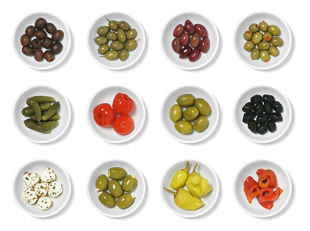 olives and antipasto - pimento cheese stock photos and pictures
