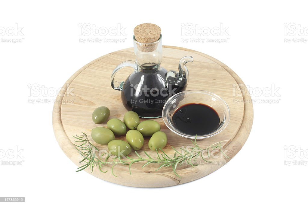Olives and Balsamic vinegar royalty-free stock photo