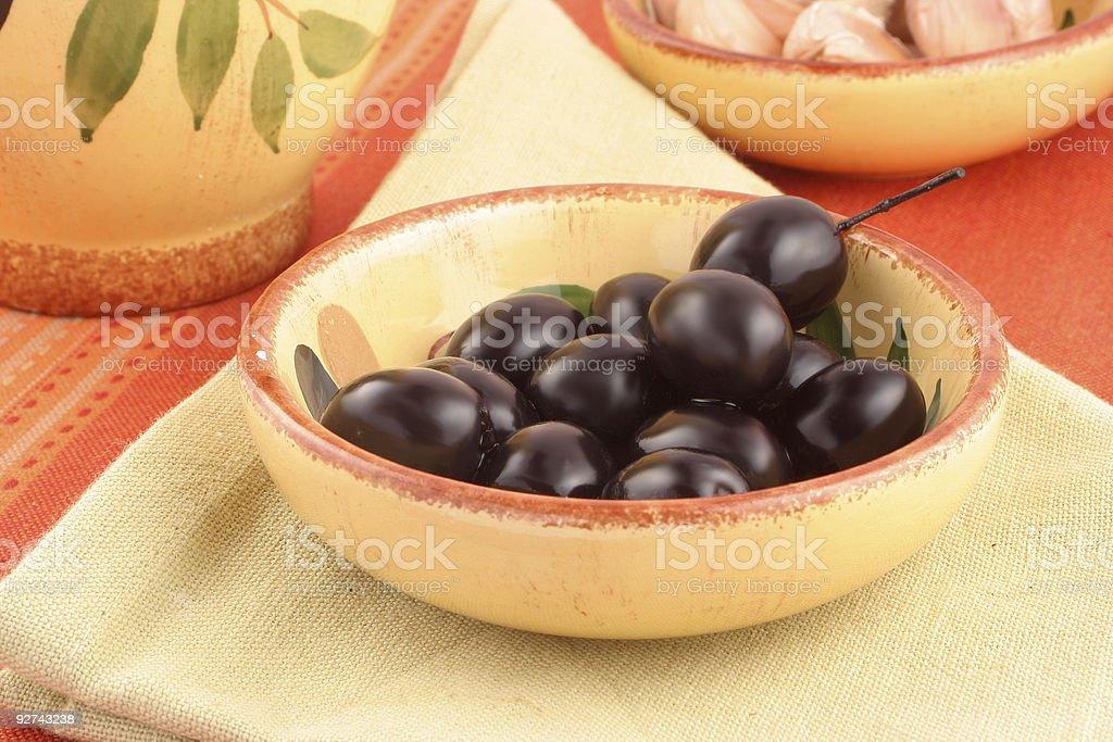 Oliven und Knoblauch Lizenzfreies stock-foto