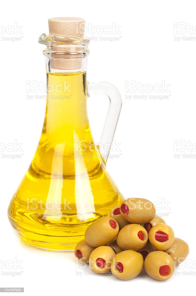 Olives and oil bottle royalty-free stock photo