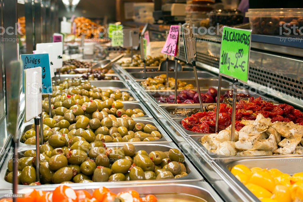 4f843535c9b Olives and other Tapas in the Boqueria Market royalty-free stock photo