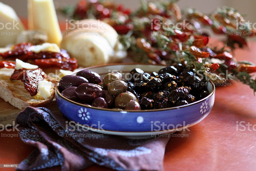 Olives Assortment with Bruschetta royalty-free stock photo