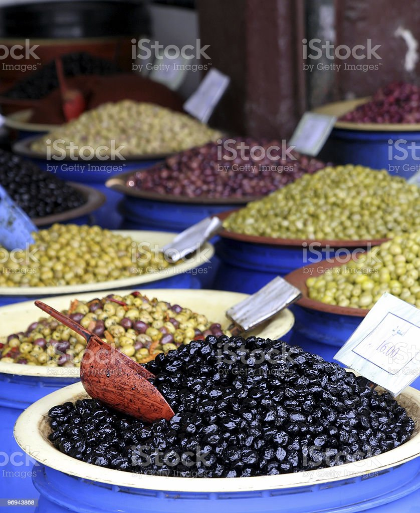olives at Moroccan market royalty-free stock photo