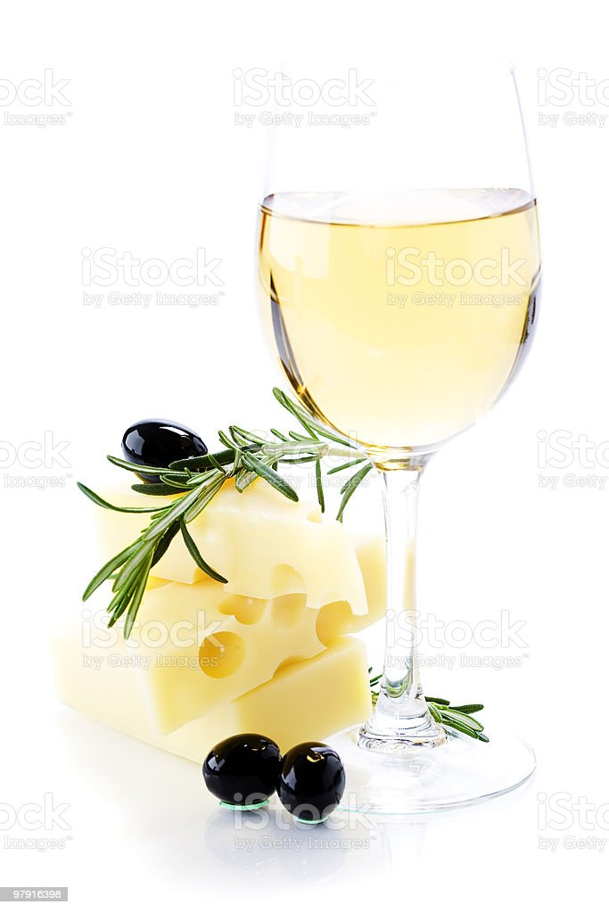 Olives, cheese and white wine royalty-free stock photo