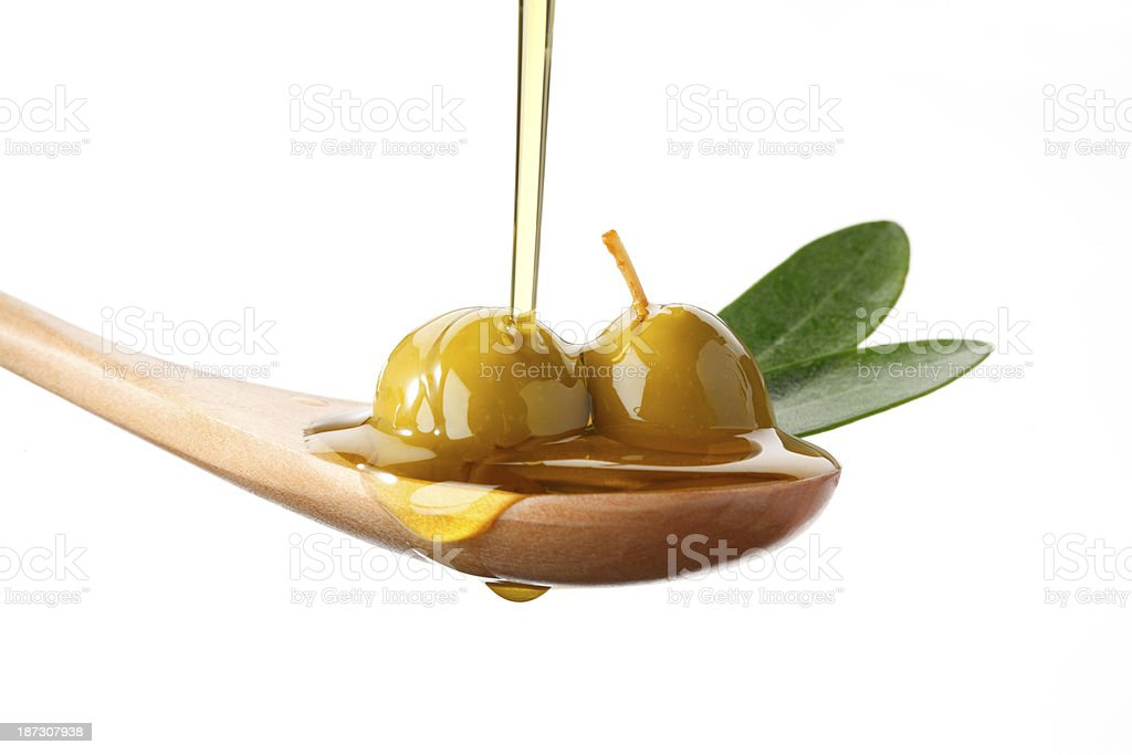 Olives in Spoon royalty-free stock photo