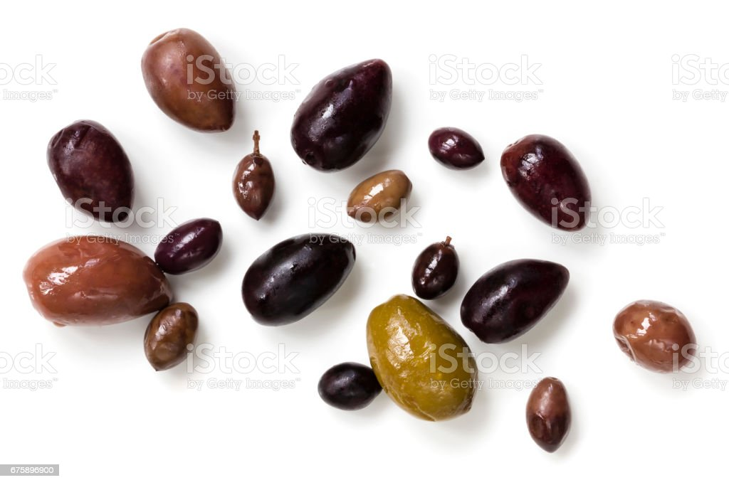 Olives Isolated Top View stock photo