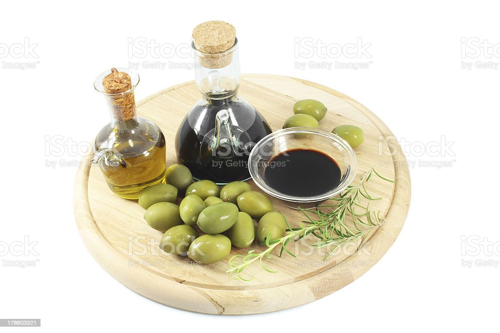 Olives, Olive oil and Balsamic vinegar royalty-free stock photo