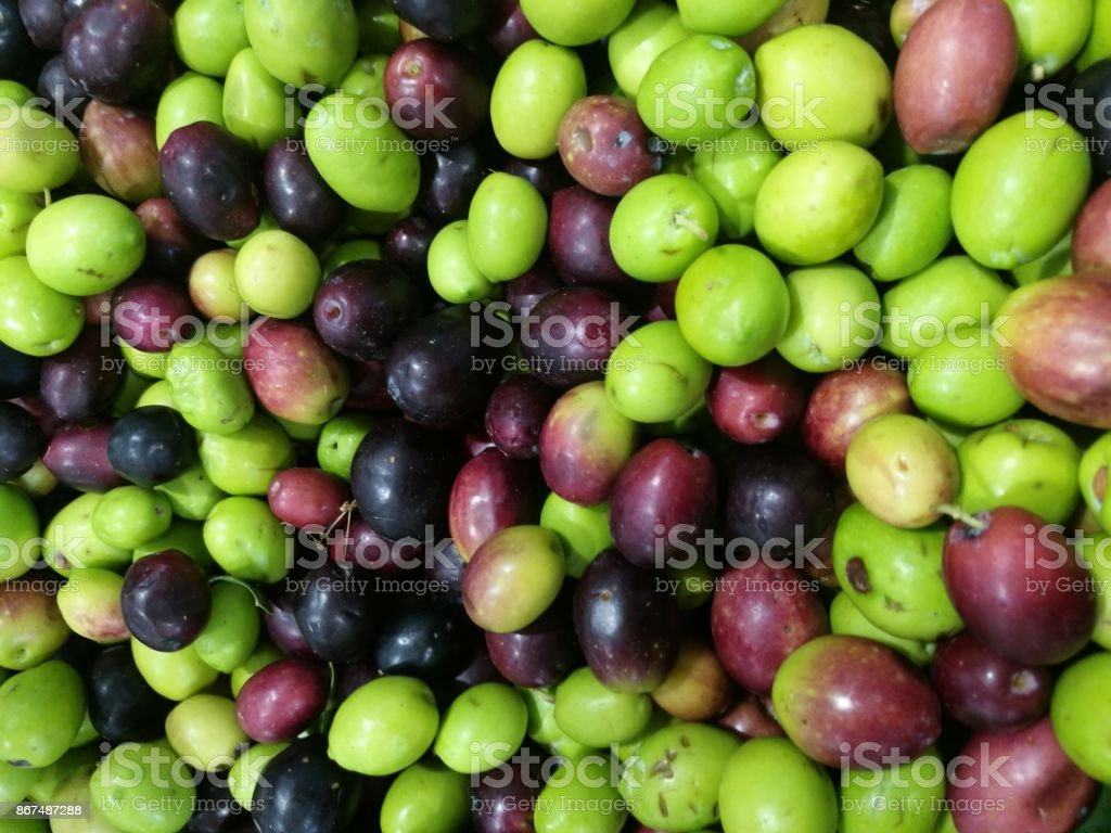 Olives on a Market stall stock photo