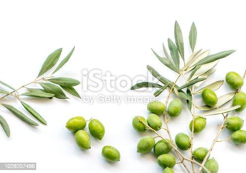 Olives on white background