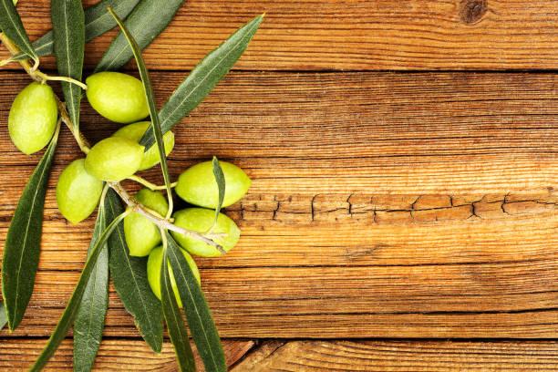 olives on wood - ramoscello d'ulivo foto e immagini stock