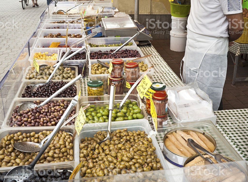 Olives Seller In Italian Market royalty-free stock photo