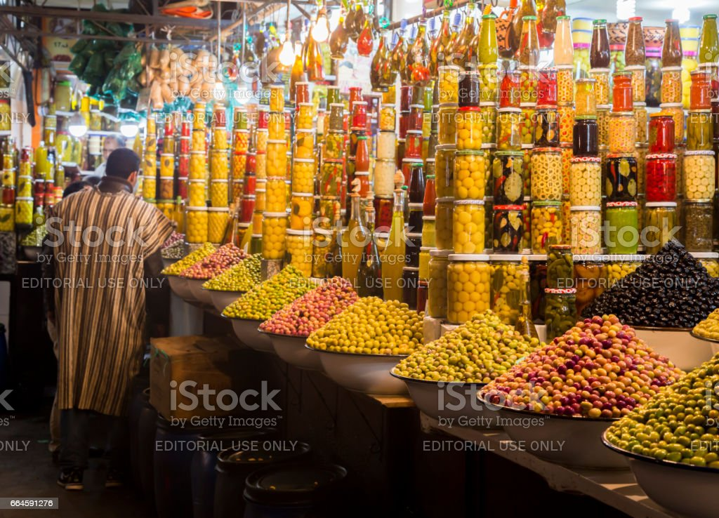 Olives shop in Jemaa El-Fnaa stock photo