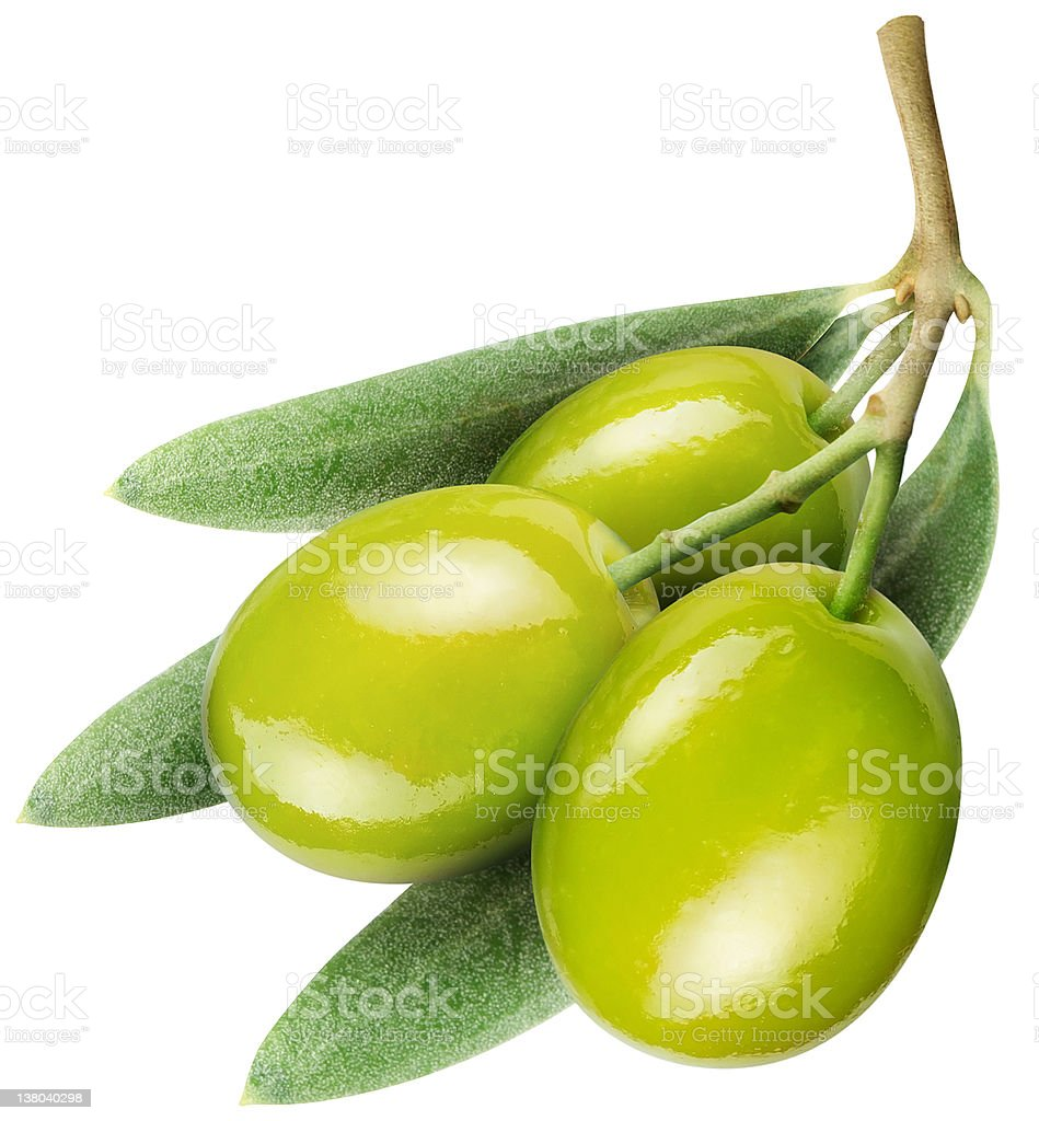 Olives with leaves on a white stock photo