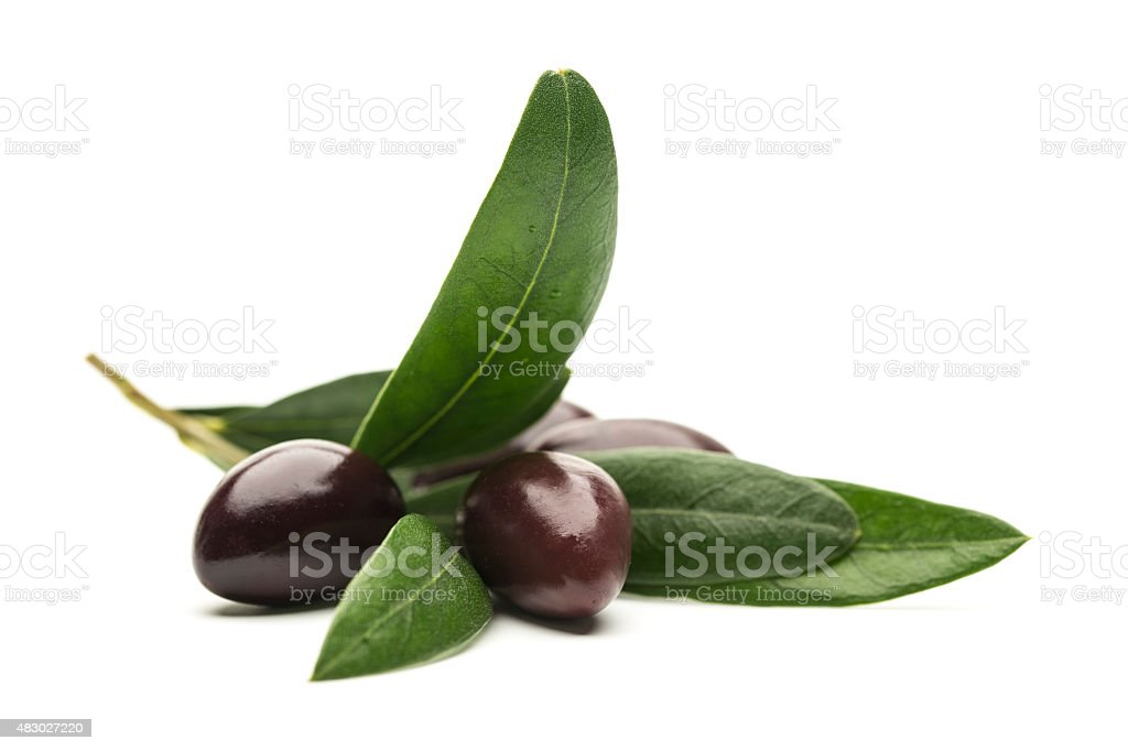 Olives with leaves on white background stock photo