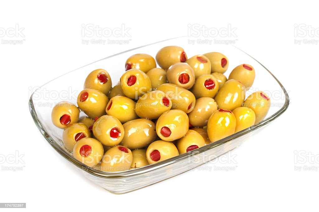 Olives with red peppers royalty-free stock photo