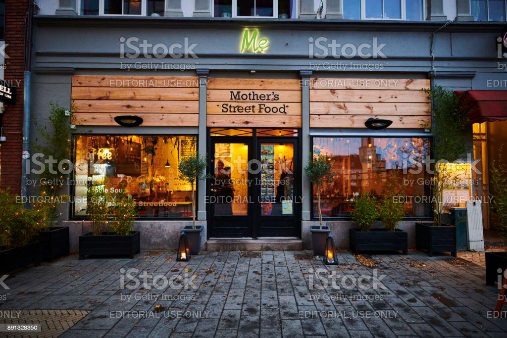 Olivia Brasserie cozy restaurant in Odense stock photo