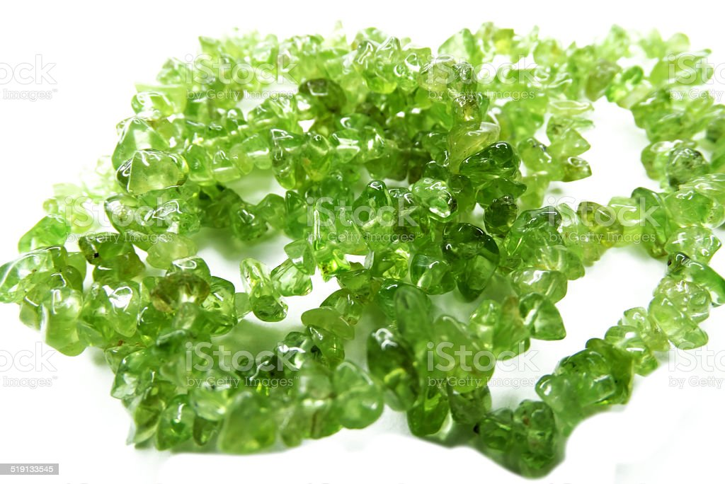 olivine semiprecious beads necklace stock photo