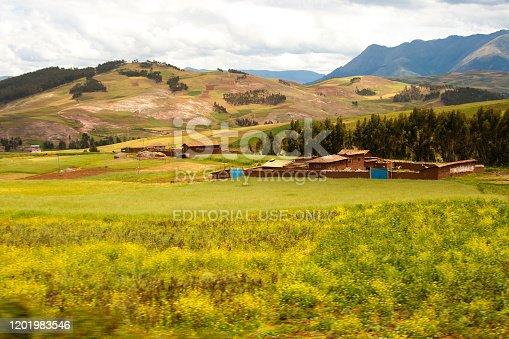 Ollantaytambo, Peru: A traditional adobe farm in the Sacred Valley near Ollantaytambo.
