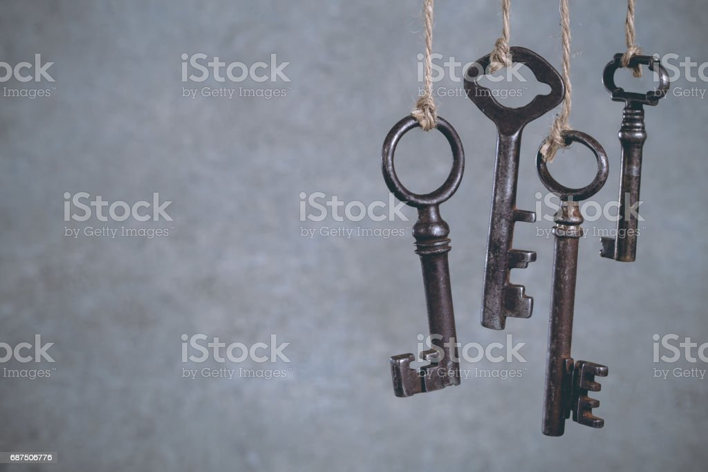 Olld keys hanging on cool stock photo