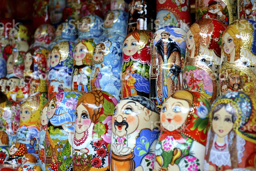 Сollection of colorful wooden matryoshkas royalty-free stock photo