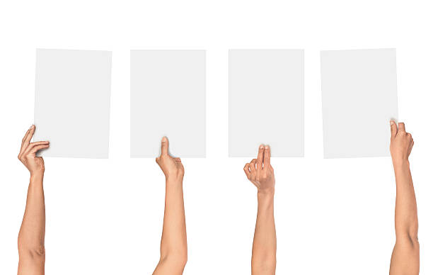 Сollection of female hands holding paper stock photo